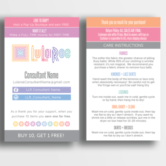 "make your own lularoe marketing materials 3"" x 5"" thank you card and care card"