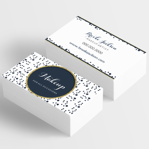 makeup artist business card with navy blue and gold