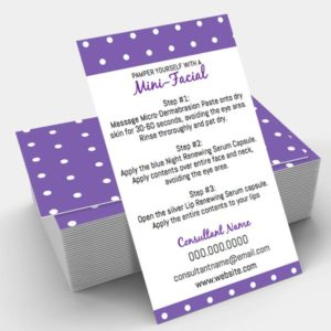 give it a glow mini facial instruction card purple and white polka dots