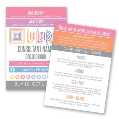 lularoe thank you care card with wash instructions