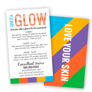 rodan and fields business mini facial glow instruction cards