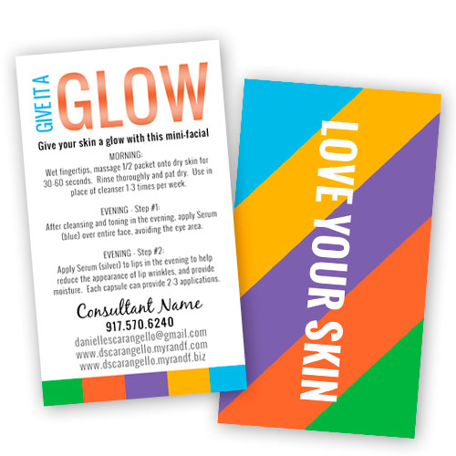 rodan and fields business mini facial card give it a glow