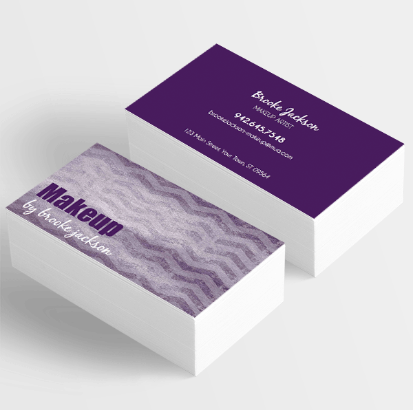 Makeup Artist Business Card Vintage Purple Chevron • ITW