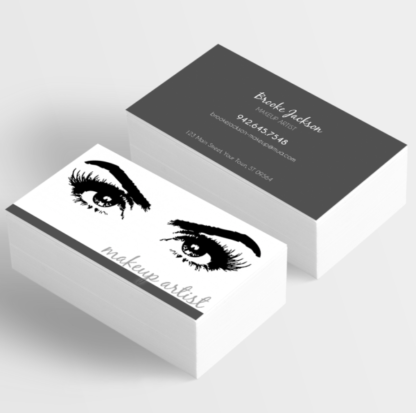 makeup artist styled business card with eyes and eyelashes, make your own business card