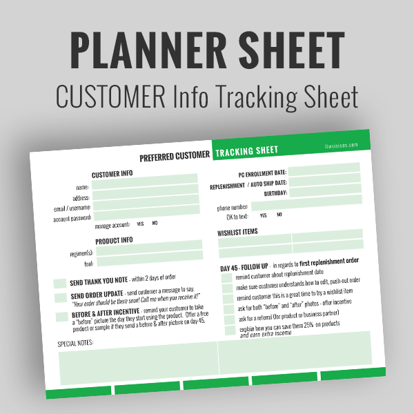 rodan and fields business tracking sheet, preferred customer info tracking sheet