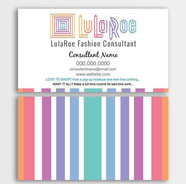 LuLaRoe Business Card - Ombre Stripes on back • ITW Visions