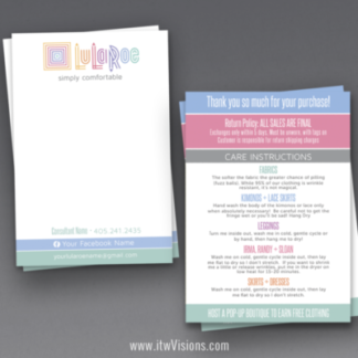 lularoe thank you card with care instructions and return policy, can be printed 4 inches by 6 inches