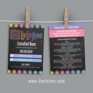 lularoe approved colors with chalkboard background business card, thank you card, care card for your lula roe orders