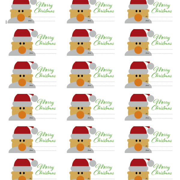 merry christmas gift tag label, instant download printable