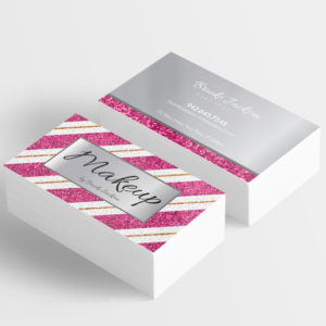 make your own business cards for makeup artist, pink sparkles with silver