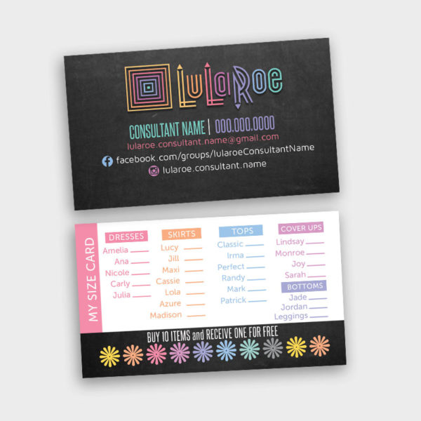 LuLaRoe Business Card My Size Card Punch Card – ITW