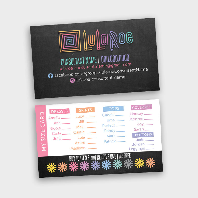 LuLaRoe Business Card / My Size Card / Punch Card • ITW Visions