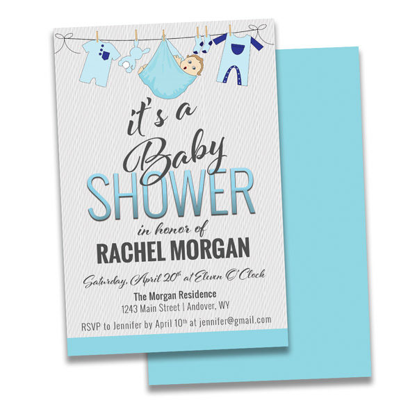 elegant baby shower invitation with cute little baby clothes on it.