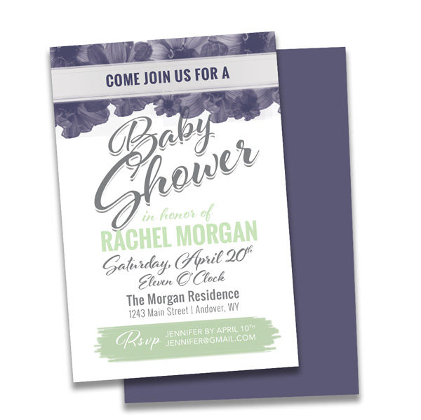 baby shower invitation with lime green and purple, floral arrangements