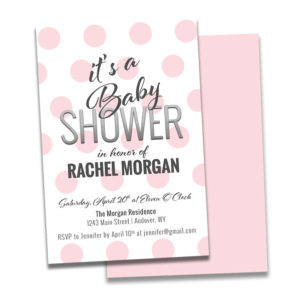 baby shower invitation for a girl with big pink polka dots