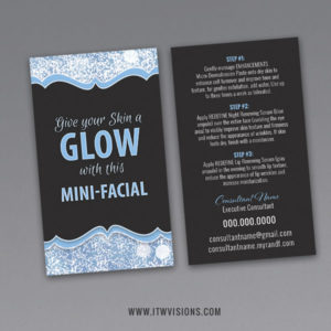 rodan and fields give it a glow mini facial instruction card