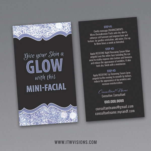 rodan and fields mini facial glow card