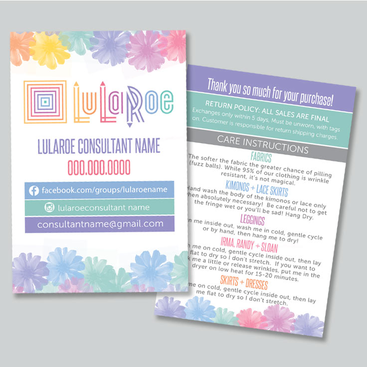lularoe thank you care card watercolor flower pattern