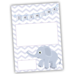 baby shower invitation free download blue with chevron and an elephant
