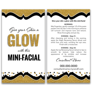 give it a glow mini facial card for rodan and fields consultants and cosmetologists
