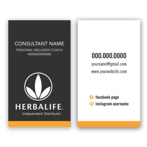 Herbalife business cards for independent distributors and personal wellness coaches