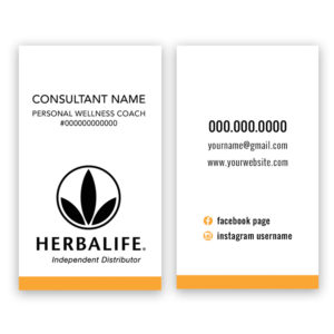 Herbalife business card designs and prints that can be personalized with your personal wellness coach contact info