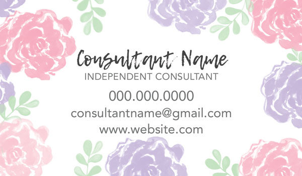 purple and pink watercolor flowers business card, love your skin, great for ordain and fields consultants