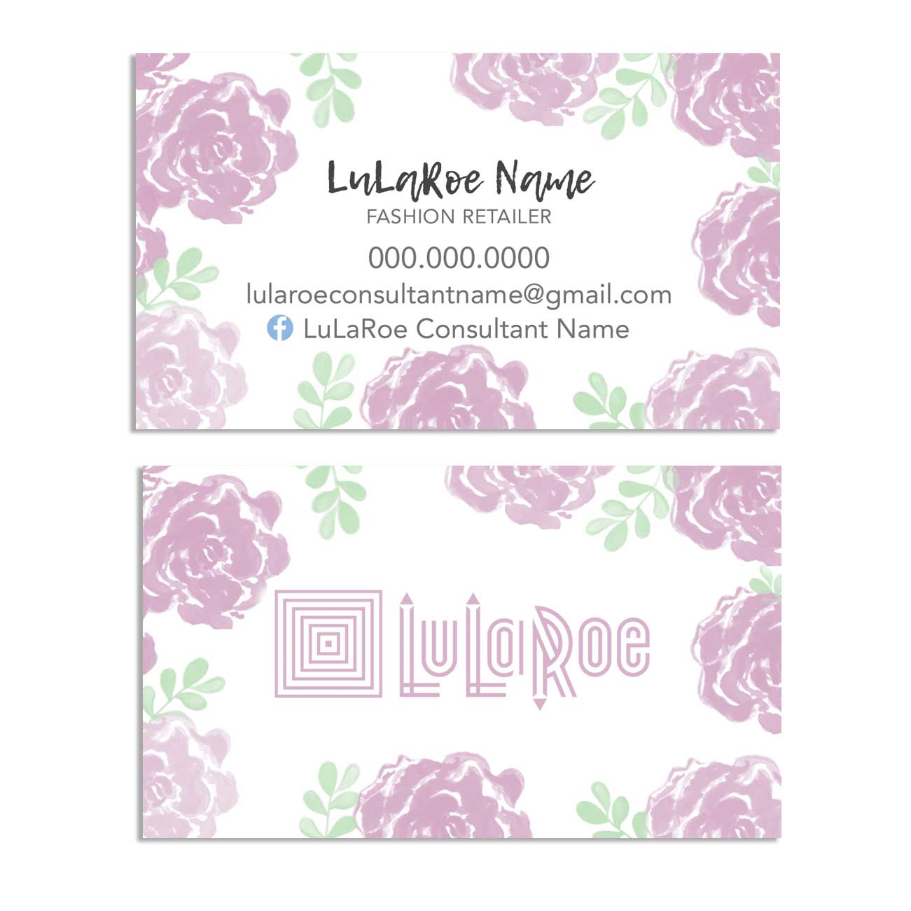LuLaRoe Business Card – Purple Watercolor Flowers horizontal