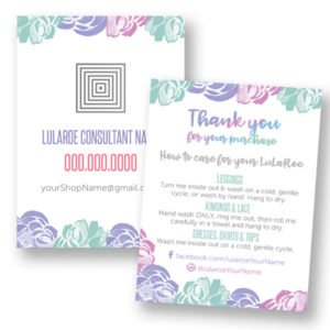 lularoe business, lularoe business card, lularoe thank you card, lularoe care instructions