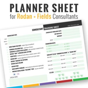 rodan and fields business planning sheet, rodan and fields planner sheet, rodan and fields checklist