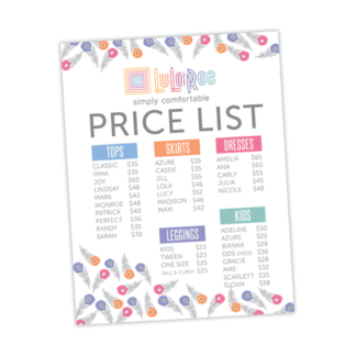 lularoe price chart, lularoe price list, lularoe instant download printable