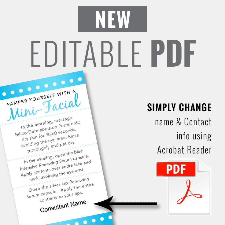 MiniFacial Card Blue Pearl INSTANT DOWNLOAD ITW Visions - Rodan and fields business card template