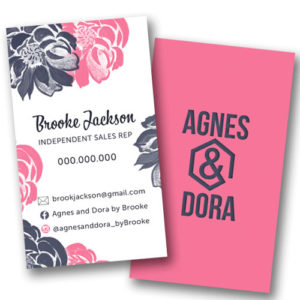 Agnes and Dora business cards, Agnes and dora boutique