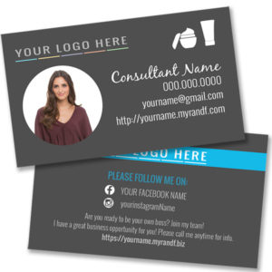 rodan and fields business card with photo, gray with skincare icons and images