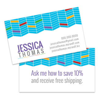 rodan and fields business card template design with geometric chevron pattern