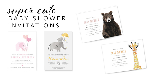 super cute baby shower invitations with woodland creatures such as elephants, giraffes and bears