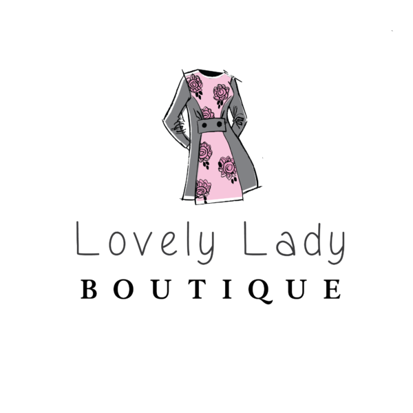 boutique logo branding with dress hand drawn dress