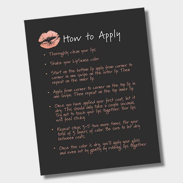 how to apply lip sense instant download printable