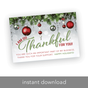 holiday thank you card, thank you for your business, rodan and fields thank you card, lip sense thank you card