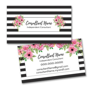 business card design black white stripes with flowers