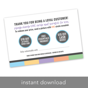 rodan and fields scratch to win loyalty card, instant download printable