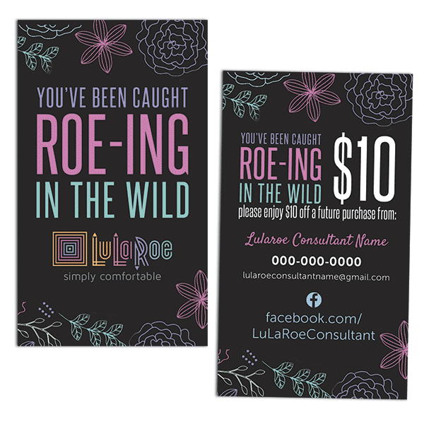 lularoe roeing in the wild business card, lularoe marketing card, lularoe gift card