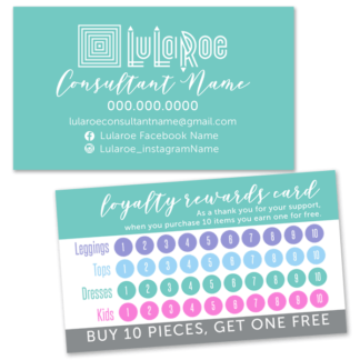 lularoe business loyalty rewards punch card, lularoe punch card, lularoe loyalty card