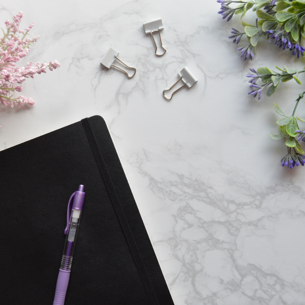 flatlay stock image, stock photo of desk scene with marble background