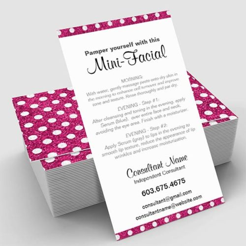 MiniFacial Card Pink Sparkle Polka Dot ITW Visions - Rodan and fields business card template