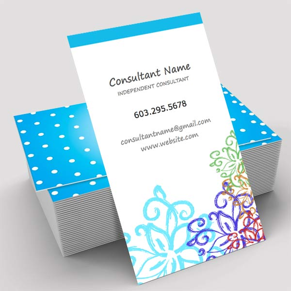 Business card vertical with hand drawn flower pattern itw visions rodan and fields business make your own business card online with already designed templates beautiful reheart Gallery
