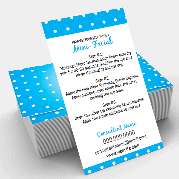Itw business card template mini facial rodan fields itwvisions 02 give it a glow mini facial instruction card accmission Image collections
