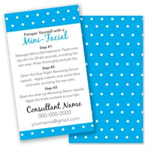 rodan and fields business mini facial card instructions glow card