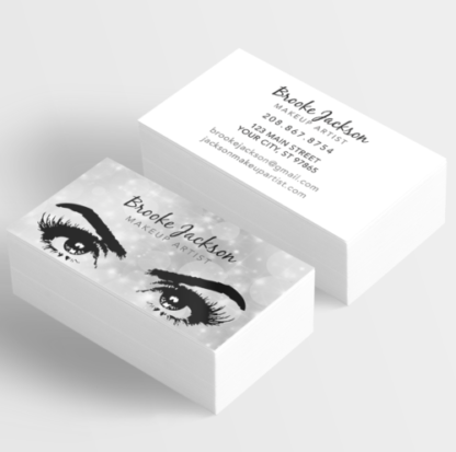 Makeup artist business card eyes eyelashes silver itw visions already designed makeup artist business cards with silver sparkles and eyes with lashes colourmoves