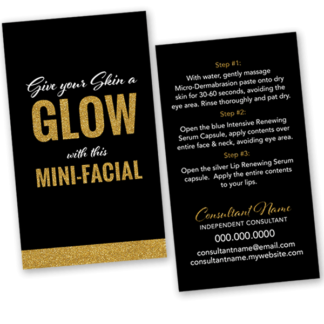 rodan and fields business, rodan and fields mini facial glow card